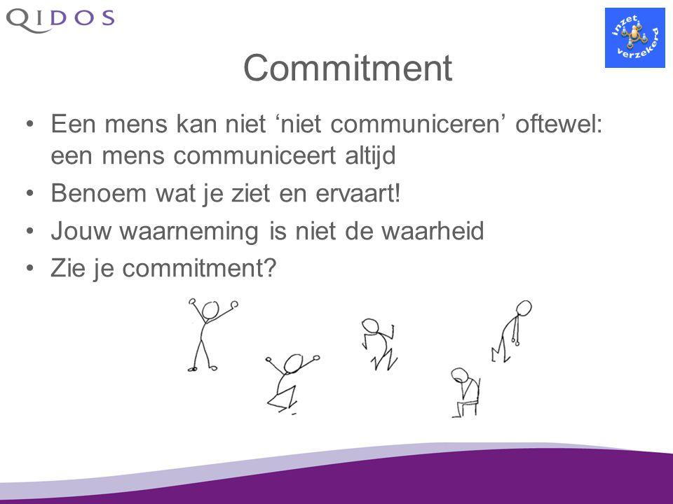 Commitment Een mens kan niet 'niet communiceren' oftewel: een mens communiceert altijd. Benoem wat je ziet en ervaart!