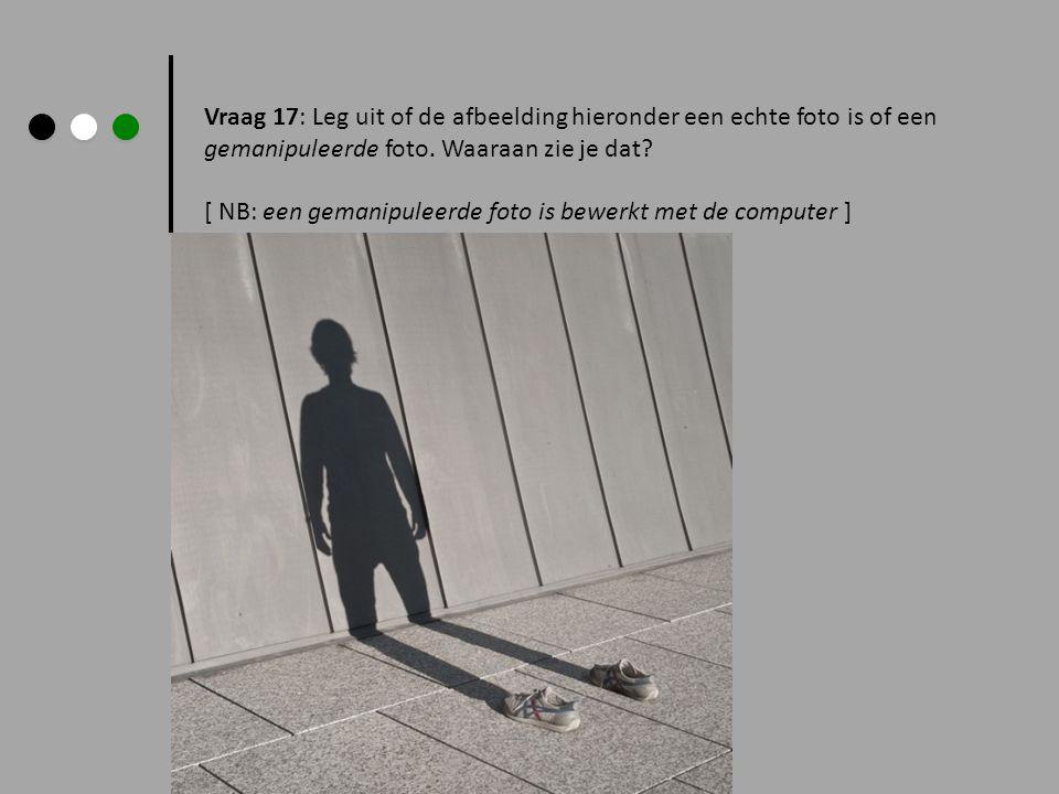 Vraag 17: Leg uit of de afbeelding hieronder een echte foto is of een