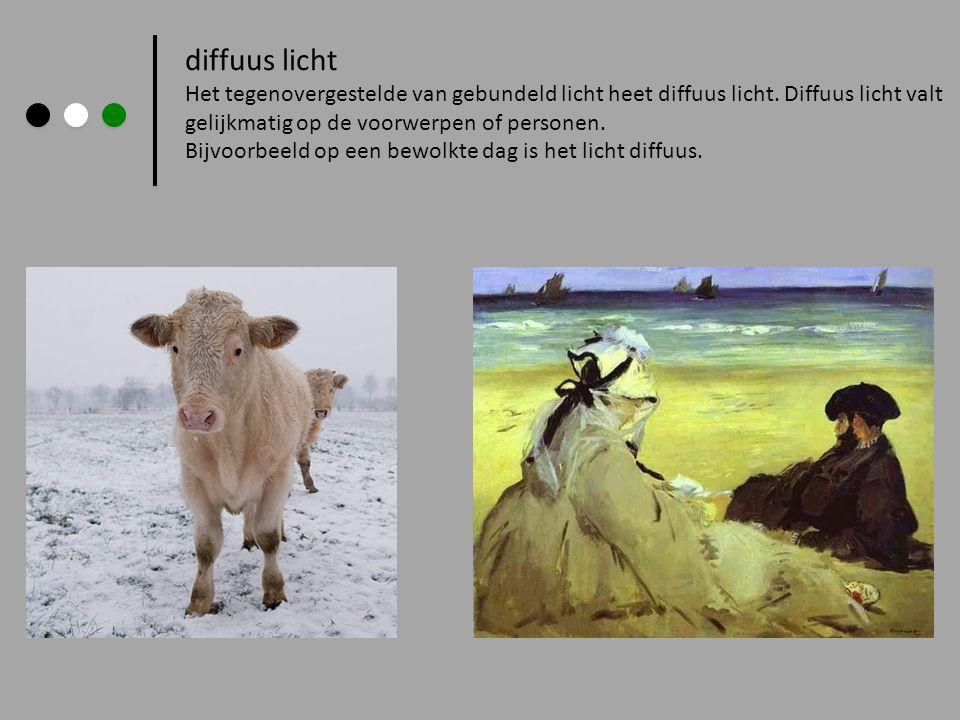 diffuus licht Het tegenovergestelde van gebundeld licht heet diffuus licht. Diffuus licht valt. gelijkmatig op de voorwerpen of personen.