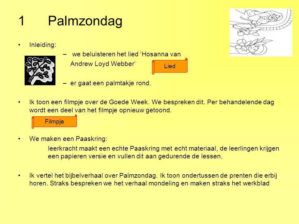 1 Palmzondag Inleiding: we beluisteren het lied 'Hosanna van