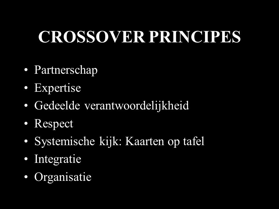 CROSSOVER PRINCIPES Partnerschap Expertise