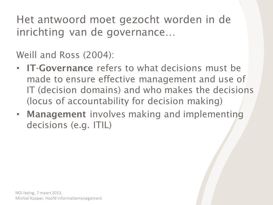 Het antwoord moet gezocht worden in de inrichting van de governance…
