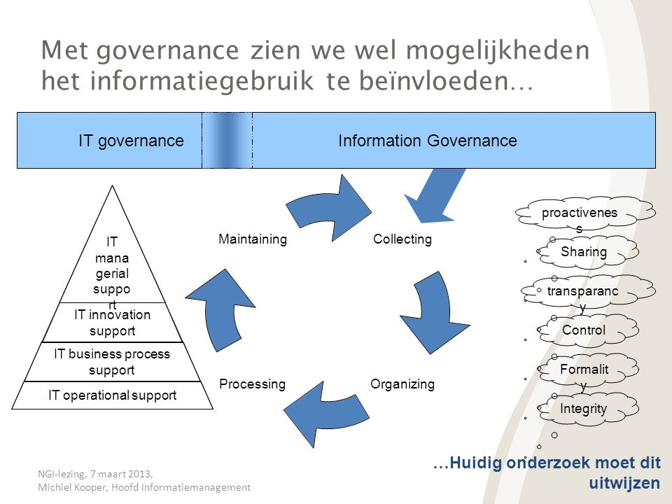 Met governance zien we wel mogelijkheden het informatiegebruik te beïnvloeden…