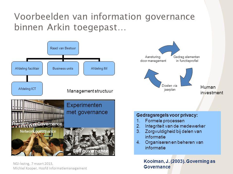 Voorbeelden van information governance binnen Arkin toegepast…