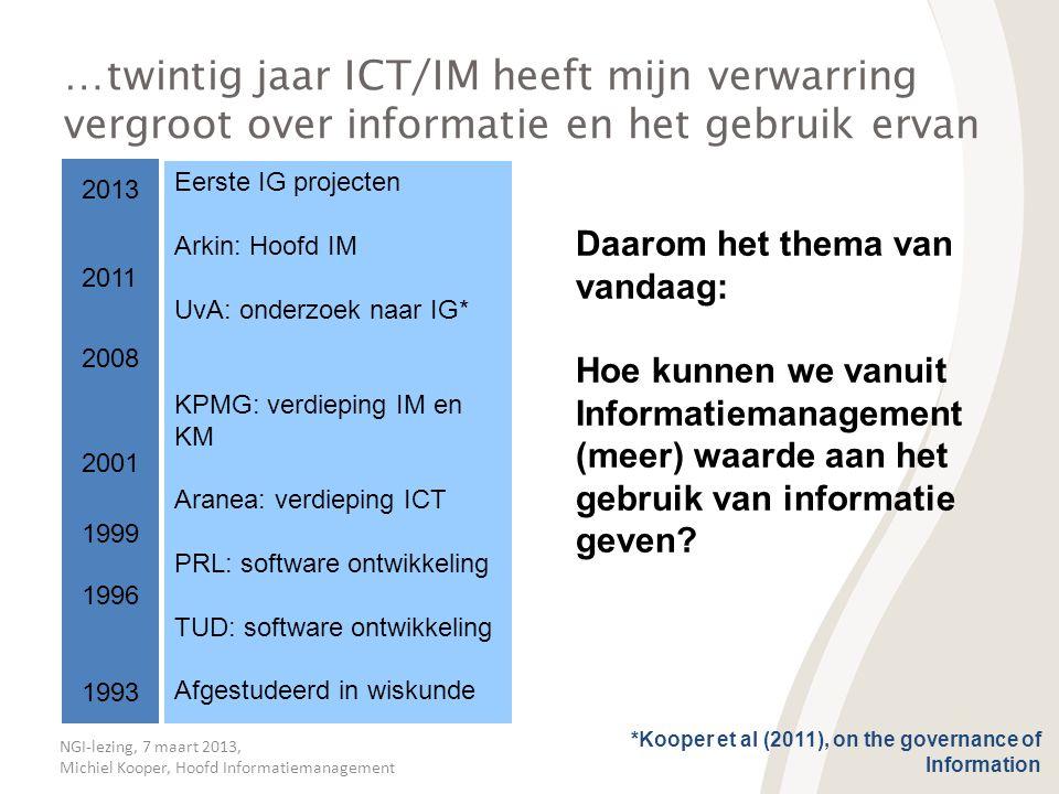…twintig jaar ICT/IM heeft mijn verwarring vergroot over informatie en het gebruik ervan
