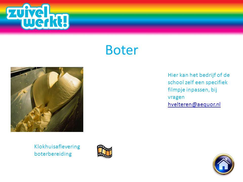 Boter Hier kan het bedrijf of de school zelf een specifiek filmpje inpassen, bij vragen hvelteren@aequor.nl.