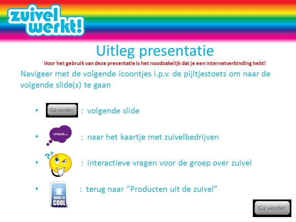Uitleg presentatie Voor het gebruik van deze presentatie is het noodzakelijk dat je een internetverbinding hebt!
