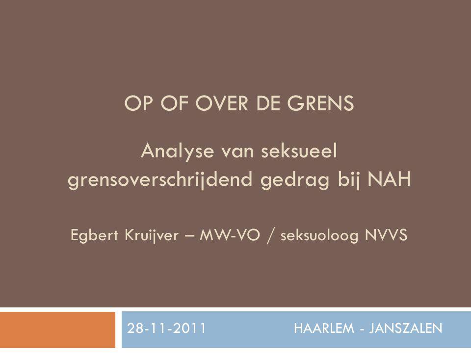 OP OF OVER DE GRENS Analyse van seksueel grensoverschrijdend gedrag bij NAH Egbert Kruijver – MW-VO / seksuoloog NVVS