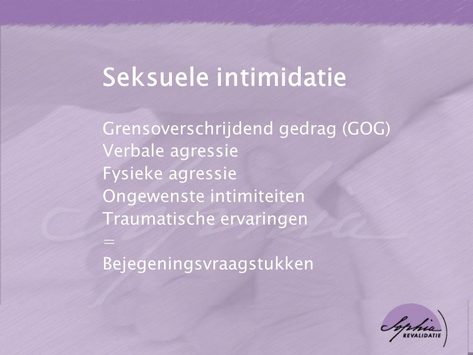 Seksuele intimidatie Grensoverschrijdend gedrag (GOG) Verbale agressie