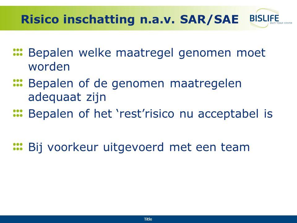 Risico inschatting n.a.v. SAR/SAE