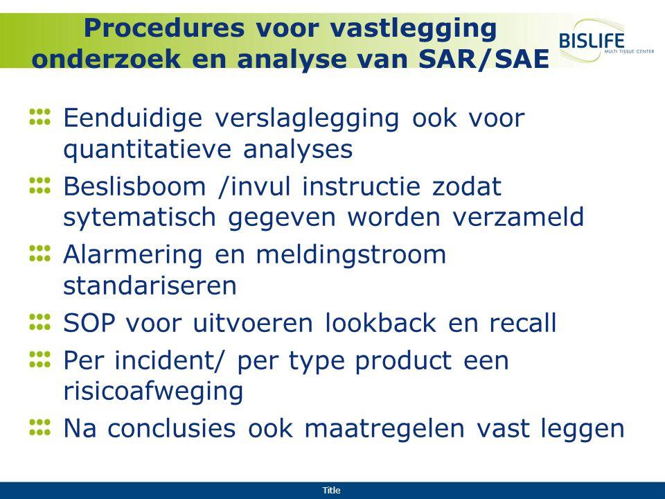 Procedures voor vastlegging onderzoek en analyse van SAR/SAE
