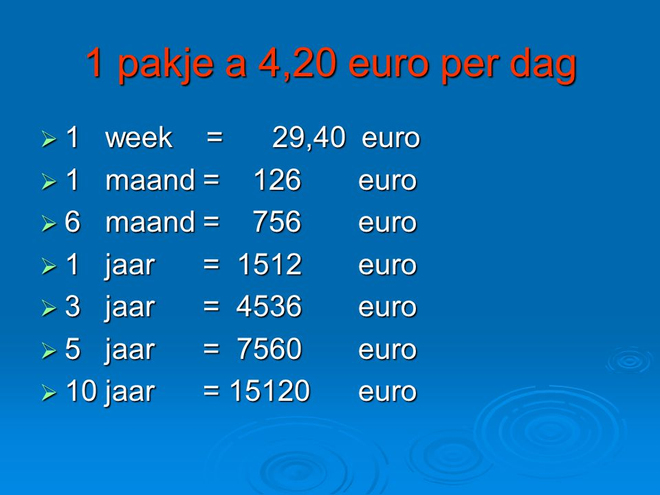 1 pakje a 4,20 euro per dag 1 week = 29,40 euro 1 maand = 126 euro