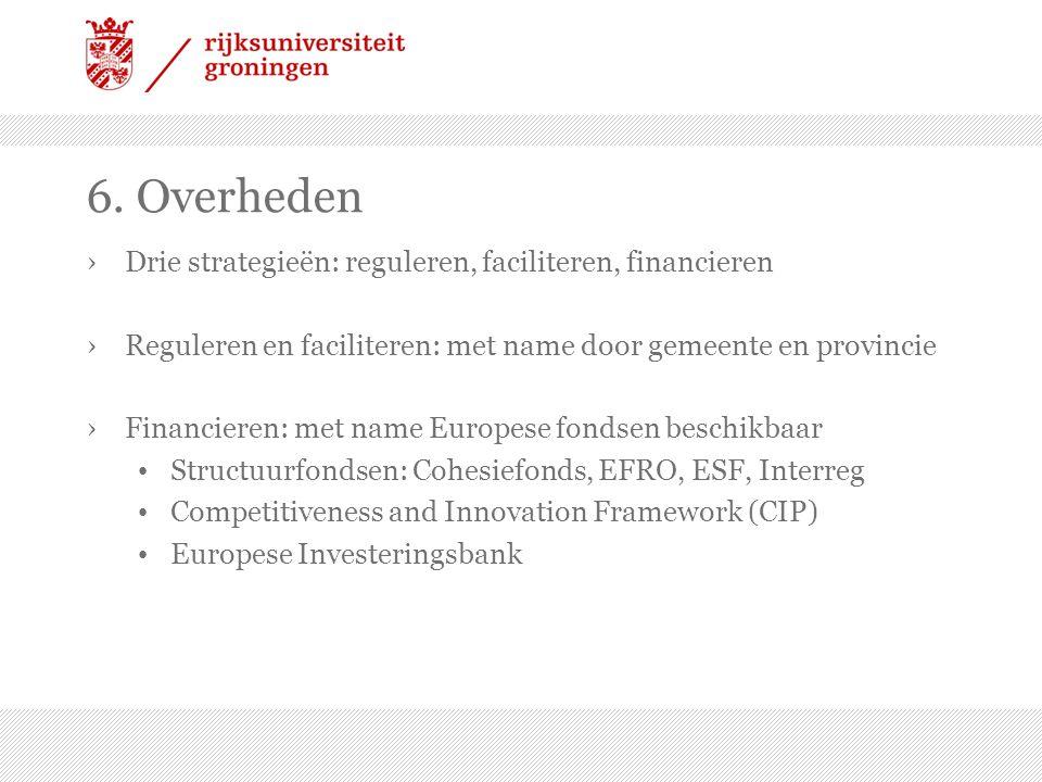 6. Overheden Drie strategieën: reguleren, faciliteren, financieren