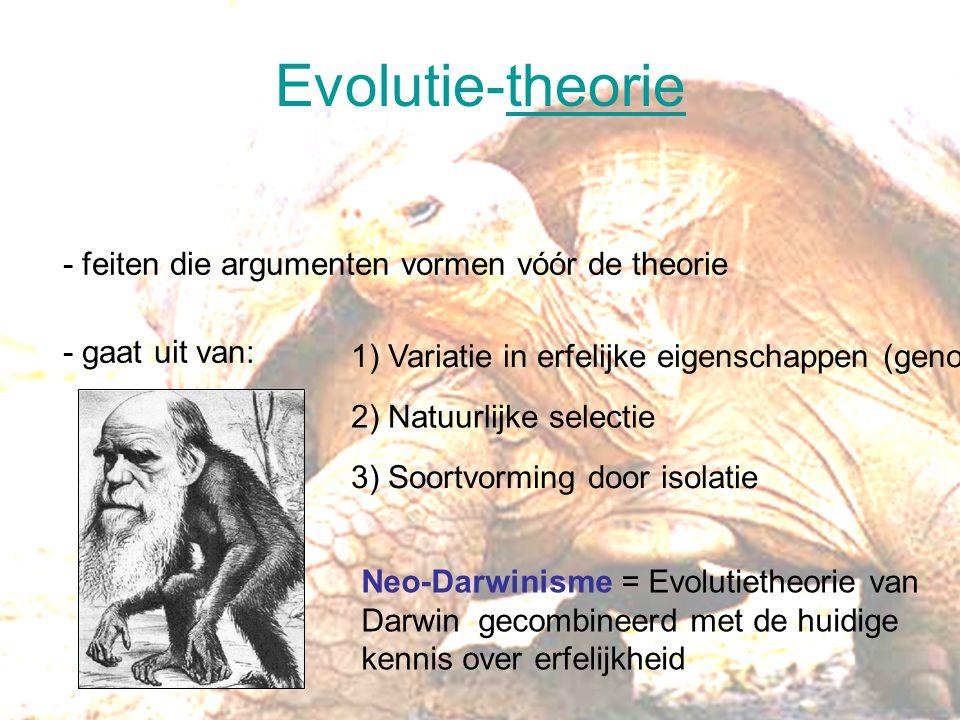 Evolutie-theorie - feiten die argumenten vormen vóór de theorie