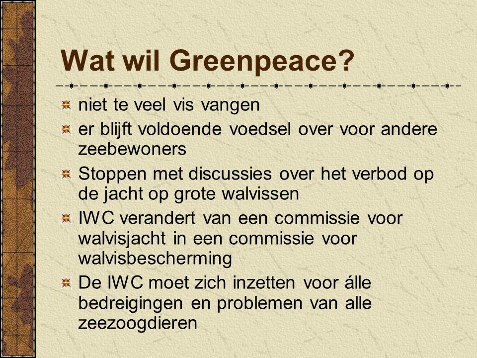 Wat wil Greenpeace niet te veel vis vangen
