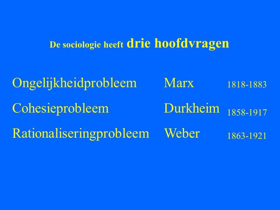 Ongelijkheidprobleem Cohesieprobleem Rationaliseringprobleem Marx