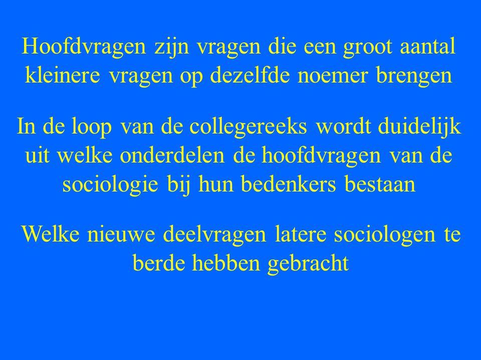 Welke nieuwe deelvragen latere sociologen te berde hebben gebracht