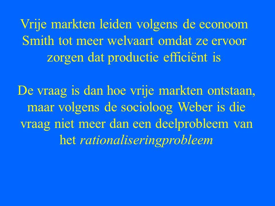 Vrije markten leiden volgens de econoom Smith tot meer welvaart omdat ze ervoor zorgen dat productie efficiënt is