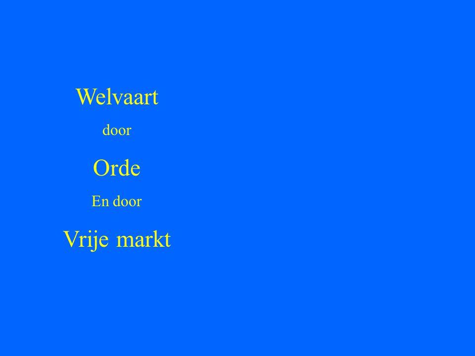 Welvaart door Orde En door Vrije markt