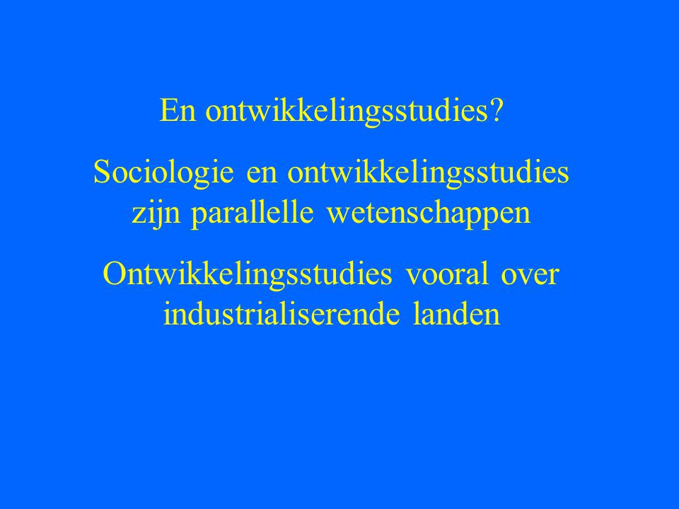 En ontwikkelingsstudies