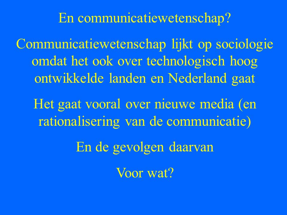 En communicatiewetenschap