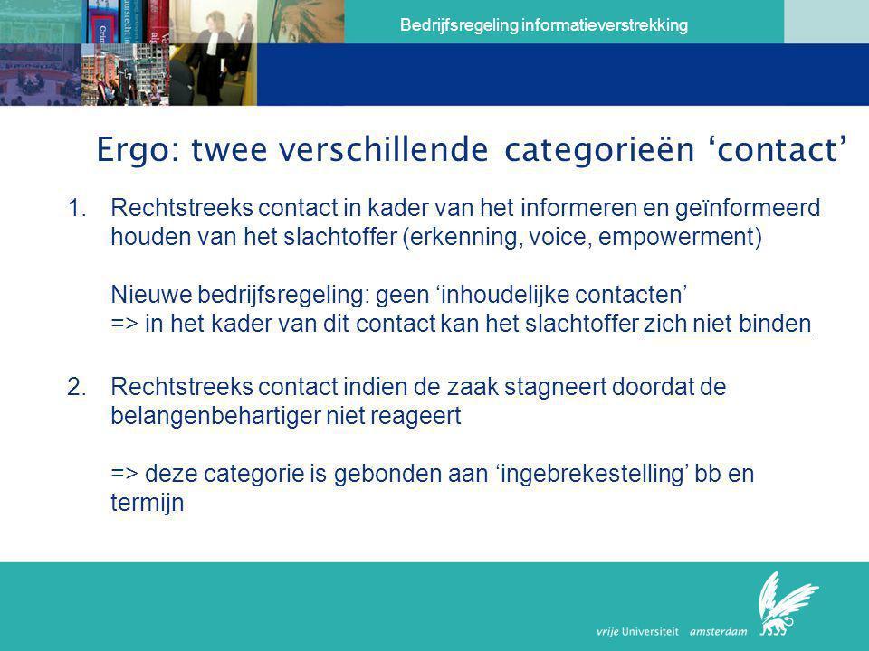 Ergo: twee verschillende categorieën 'contact'