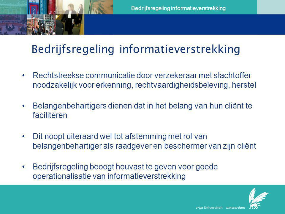 Bedrijfsregeling informatieverstrekking