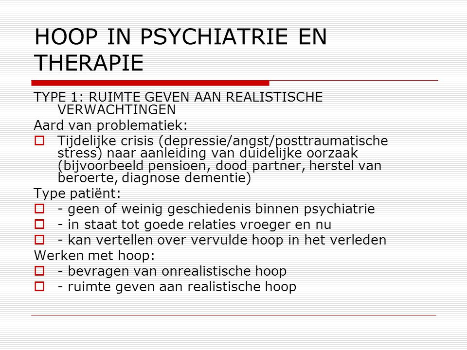 HOOP IN PSYCHIATRIE EN THERAPIE