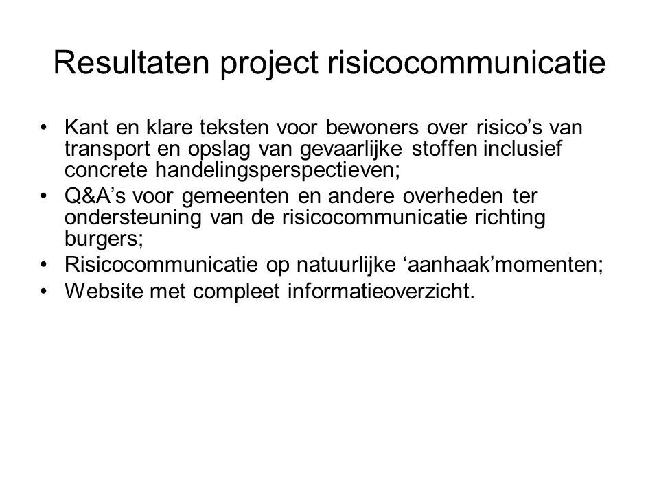 Resultaten project risicocommunicatie