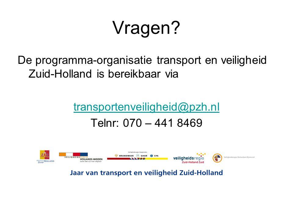 Vragen De programma-organisatie transport en veiligheid Zuid-Holland is bereikbaar via. transportenveiligheid@pzh.nl.