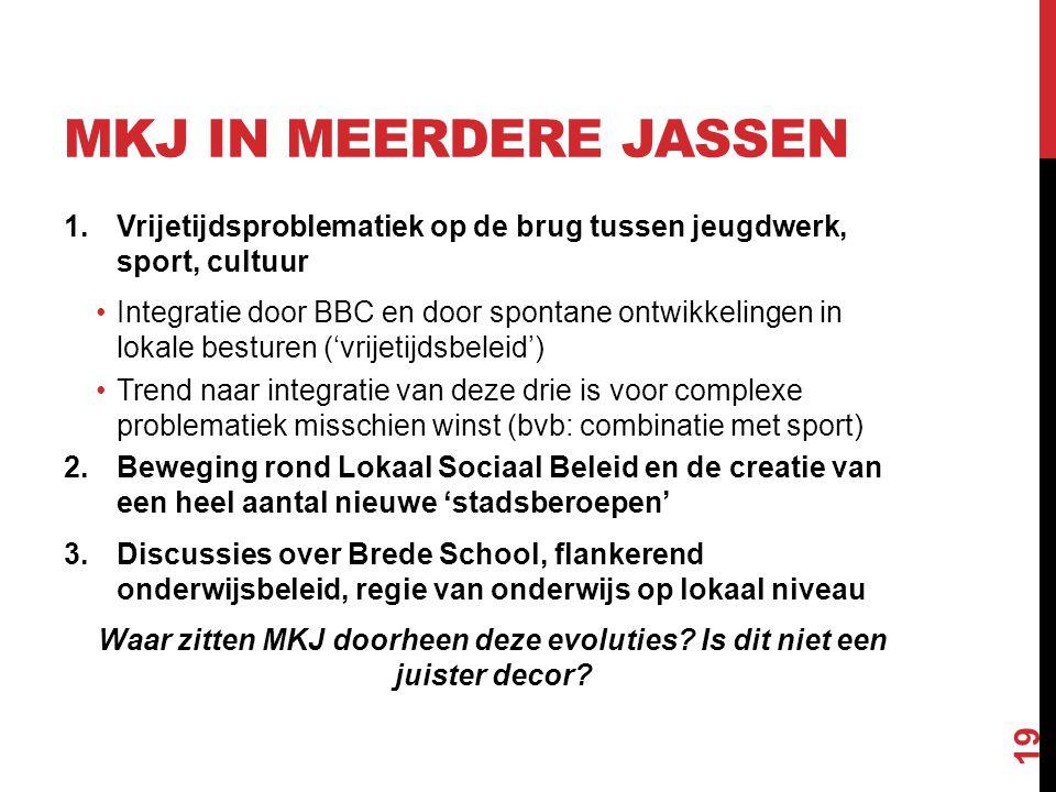MKJ in meerdere jassen Vrijetijdsproblematiek op de brug tussen jeugdwerk, sport, cultuur.