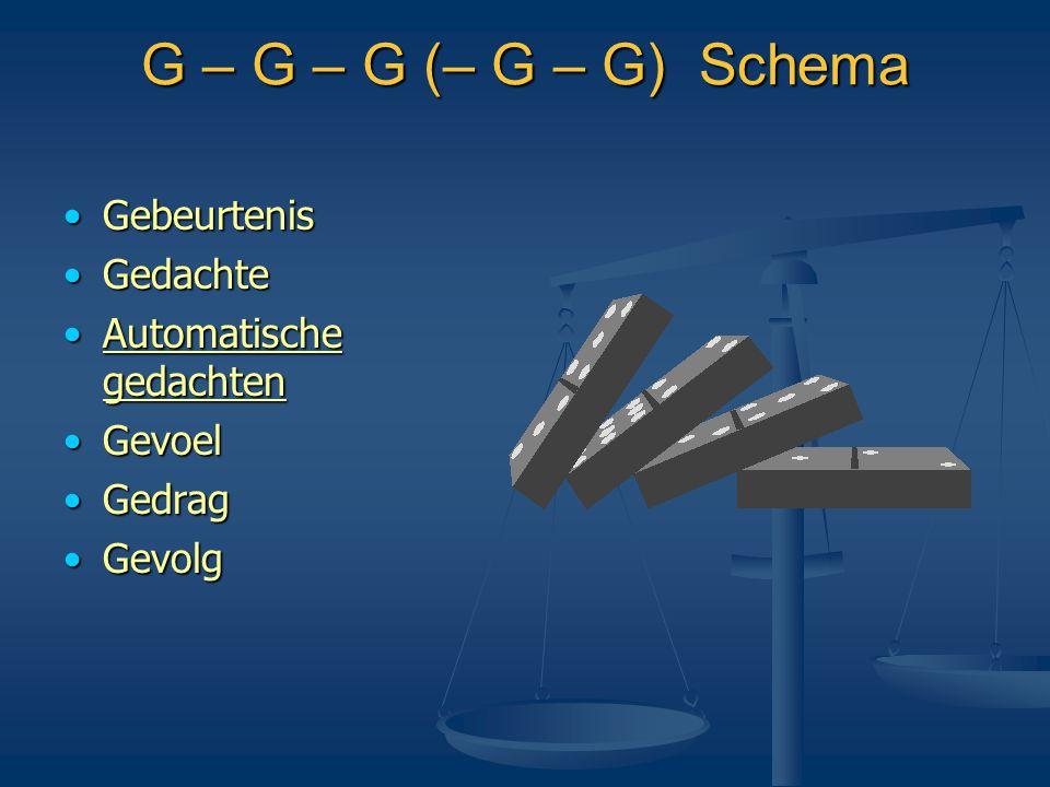 G – G – G (– G – G) Schema Gebeurtenis Gedachte Automatische gedachten