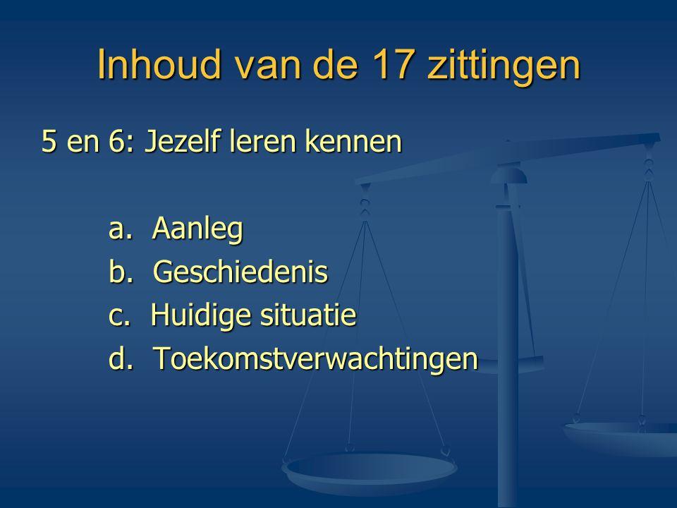 Inhoud van de 17 zittingen