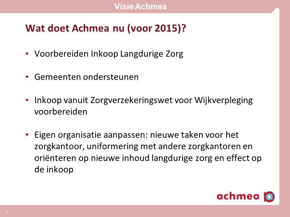 Wat doet Achmea nu (voor 2015)
