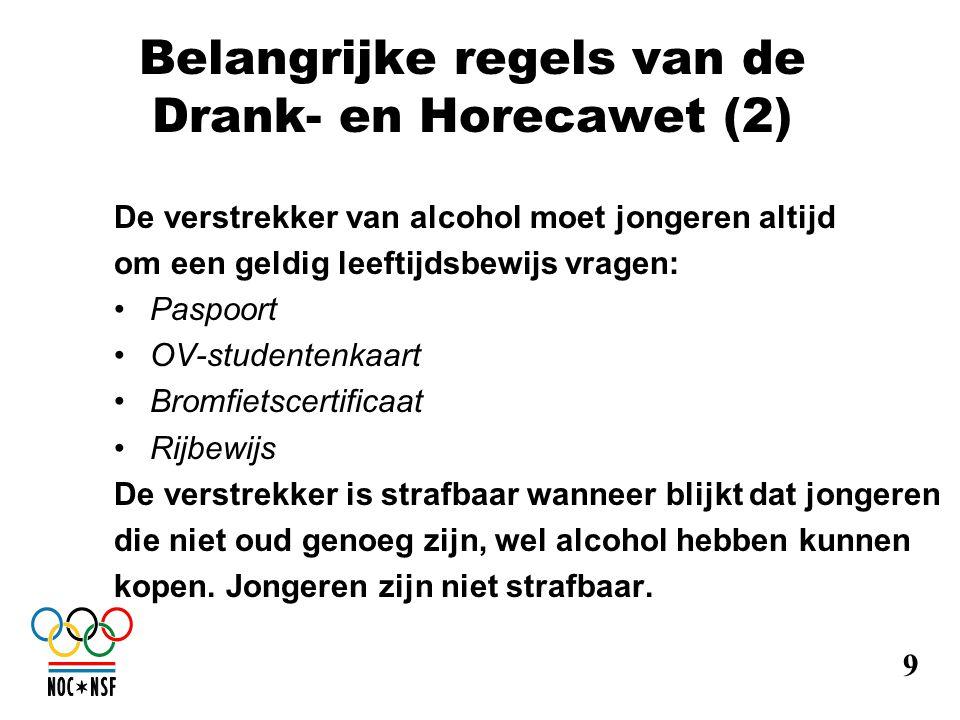 Belangrijke regels van de Drank- en Horecawet (2)