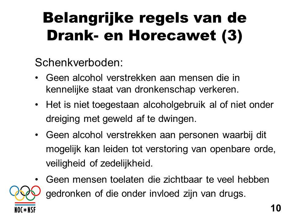 Belangrijke regels van de Drank- en Horecawet (3)