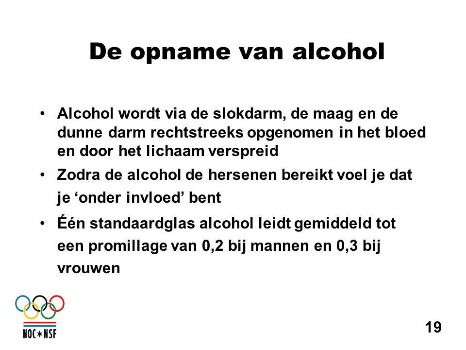 De opname van alcohol Alcohol wordt via de slokdarm, de maag en de dunne darm rechtstreeks opgenomen in het bloed en door het lichaam verspreid.