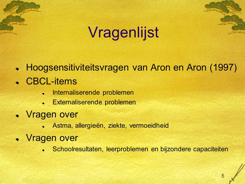 Vragenlijst Hoogsensitiviteitsvragen van Aron en Aron (1997)