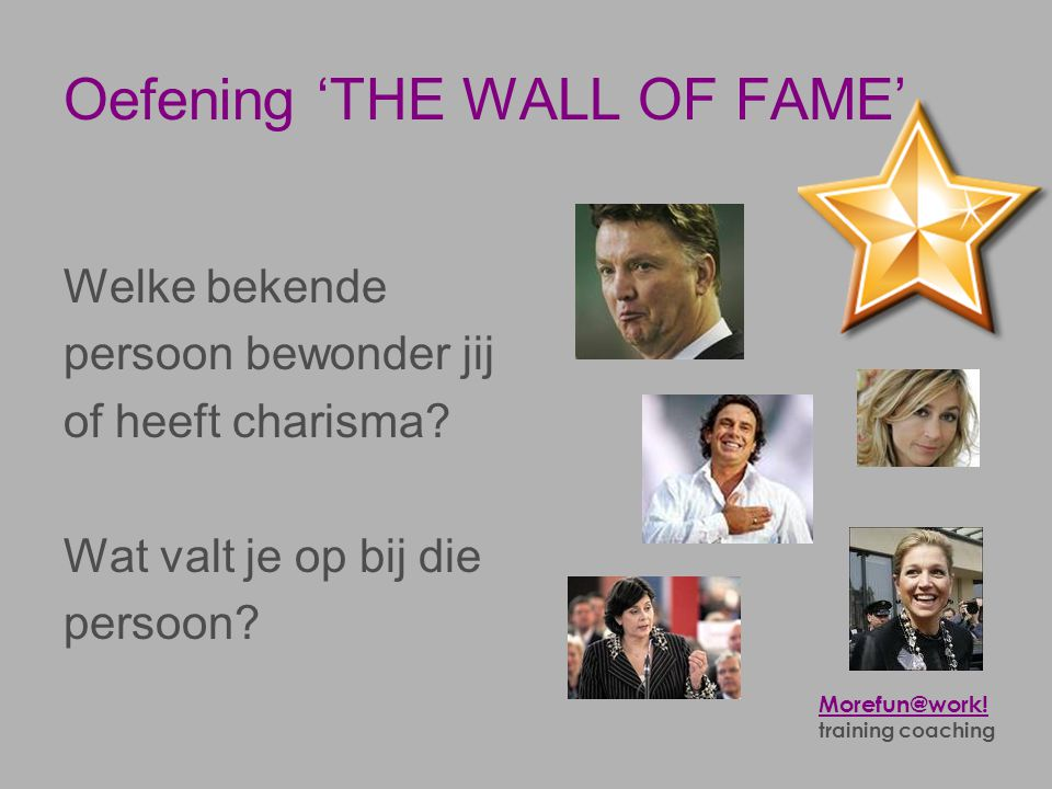 Oefening 'THE WALL OF FAME'