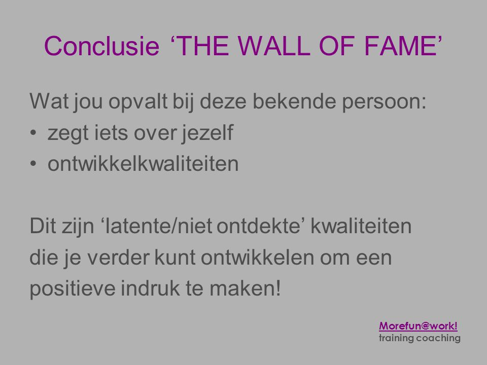 Conclusie 'THE WALL OF FAME'