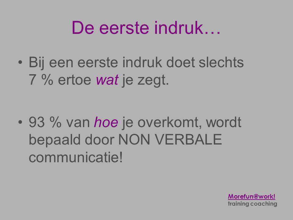 De eerste indruk… Bij een eerste indruk doet slechts 7 % ertoe wat je zegt. 93 % van hoe je overkomt, wordt bepaald door NON VERBALE communicatie!