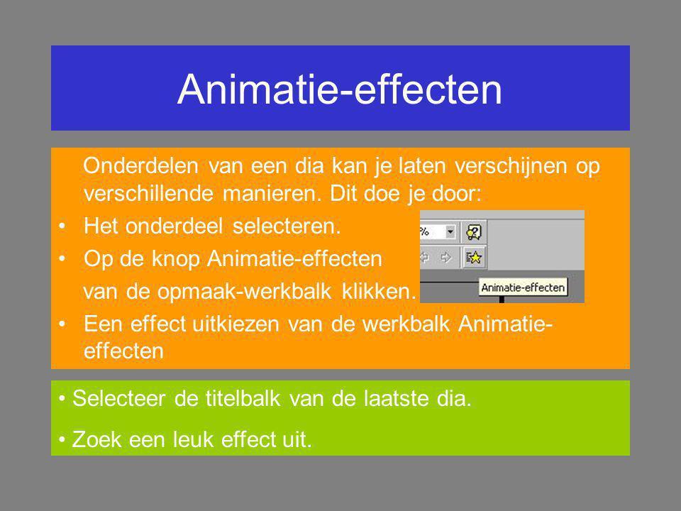 Animatie-effecten Onderdelen van een dia kan je laten verschijnen op verschillende manieren. Dit doe je door:
