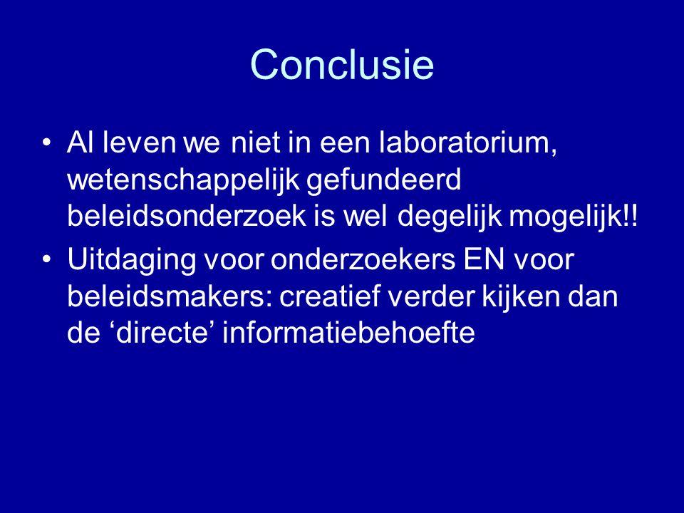 Conclusie Al leven we niet in een laboratorium, wetenschappelijk gefundeerd beleidsonderzoek is wel degelijk mogelijk!!