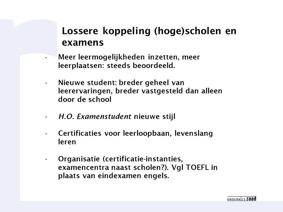 Lossere koppeling (hoge)scholen en examens
