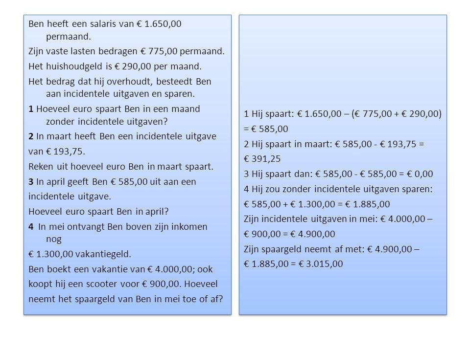Ben heeft een salaris van € 1. 650,00 permaand