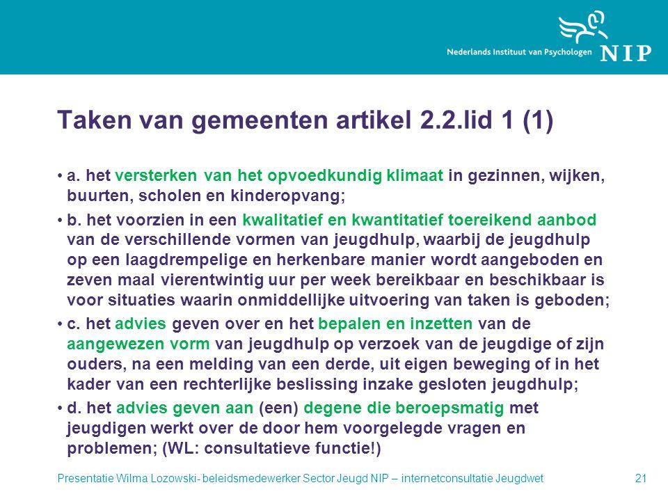 Taken van gemeenten artikel 2.2.lid 1 (1)