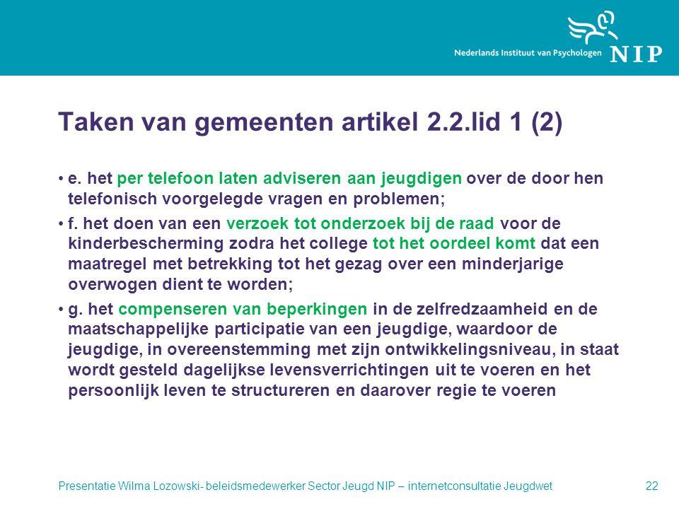 Taken van gemeenten artikel 2.2.lid 1 (2)
