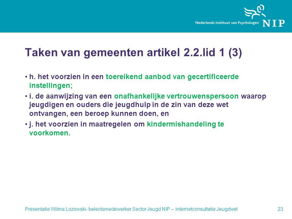 Taken van gemeenten artikel 2.2.lid 1 (3)