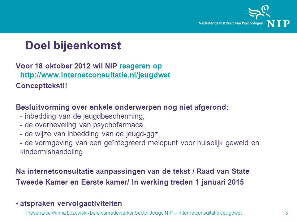 Doel bijeenkomst Voor 18 oktober 2012 wil NIP reageren op http://www.internetconsultatie.nl/jeugdwet.
