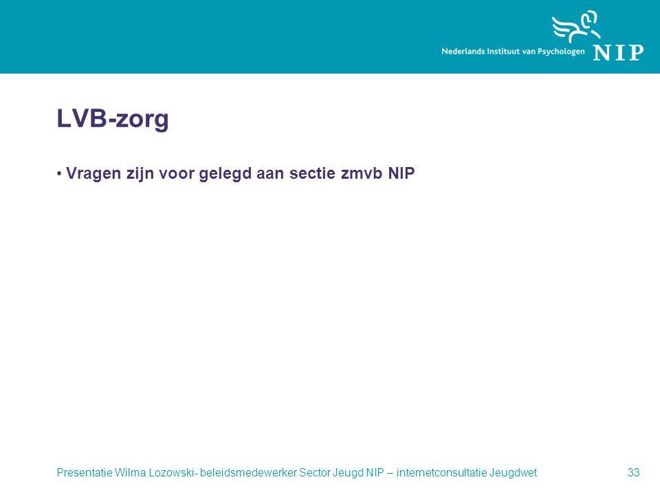 LVB-zorg Vragen zijn voor gelegd aan sectie zmvb NIP